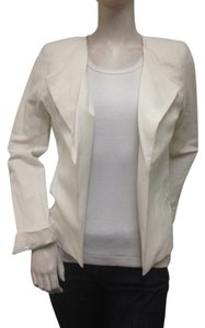 Amanda Uprichard AMANDA UPRICHARD Ivory Silk Linen Blend Winged Lapel Crosby Blazer Sz M