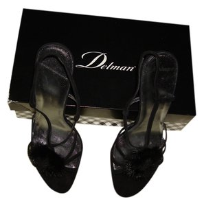Delman High Heel Jojo-af Kidsuede Mink Ornament Black Sandals