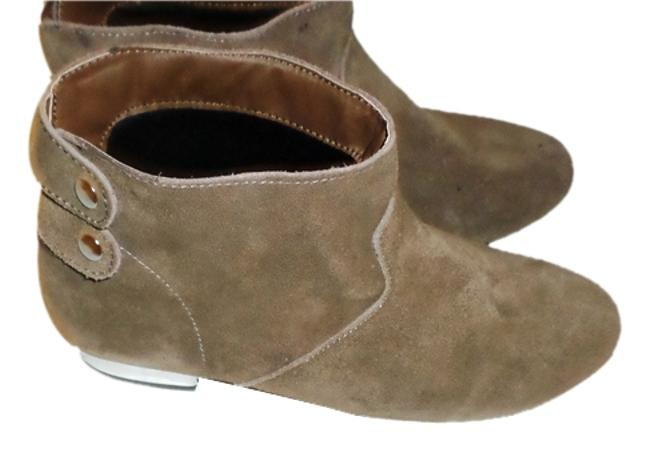 Item - Taupe Suede Snap Back Silver Tone Heel Ankle Boots/Booties Size US 7 Regular (M, B)