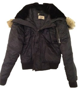 Juicy Couture Winter Brown I Love Juicy Faux Fur Hooded Blac Jacket