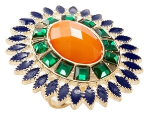 Leslie Danzis Orange Floret Adjustable Ring