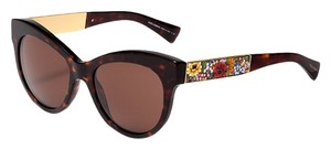 Dolce&Gabbana Limited Flower Dolce and Gabbana Mosaico Sunglasses Women Cat Eye Mosaic Brown Gold Baroque Floral DG 4215