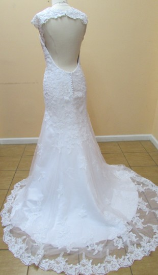 Alfred Angelo White Satin and Lace 2545 Modern Wedding Dress Size 14 (L)