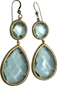Round and Teardrop Sky Blue Hydro Quartz Earrings