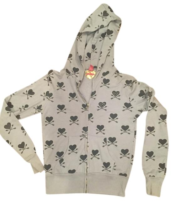 Item - Blue W Light Hoodie W. All Over Crossbow Heart Design and Rhinestone Detail Activewear Size 8 (M)