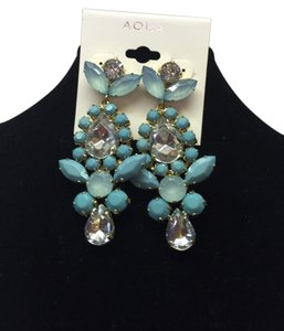 Aqua Double Tear Drop and Faux Diamonds Earrings