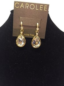 Carolee Tear Drop Gold and Faux Diamond Earrings