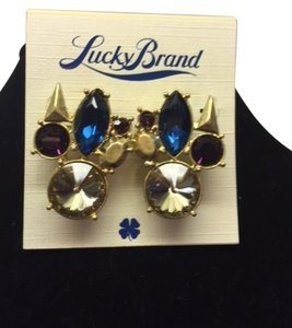 Lucky Brand Mulit-Colored Stone Purple, Deep Blue, Gold and Faux Diamonds earrings