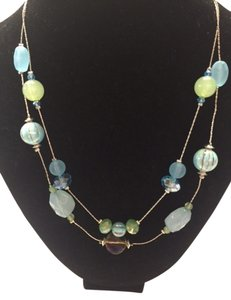 Style & Co Blue and Green and Silver two layer necklace
