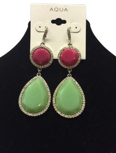 Aqua Dangling Tear drop Pink and Green Spring time earrings trimmed in faux diamonds