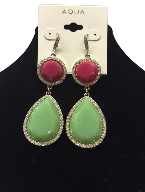Item - Green and Pink Dangling Tear Drop Spring Time Trimmed In Faux Diamonds Earrings