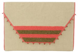 Nila Anthony Envelope Neon Summer Beaded Canvas Neutral Pink Gold Metallic Clutch