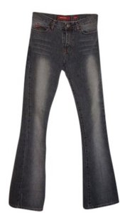Miss Sixty Black Washed Out 60 Italy Broken In Worn Washed Fashion High End Exclusive Vintage Boot Cut Jeans-Light Wash