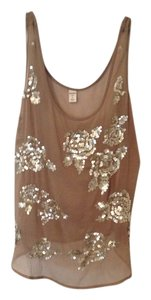 Old Navy Chiffon Crepe Crinkle Sequin Top Taupe, Gold