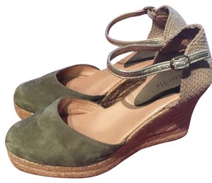 Minelli Suede Green Wedges
