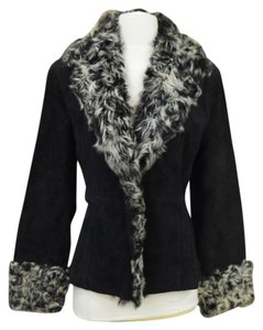 Paolo Santini Suede Coat With Fur Trim Leather Jacket