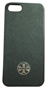 Tory Burch Tory Burch Robinson Inphone 5/5s Smart Phone Black Saffiano Leather Silver Logo Hard Case NEW