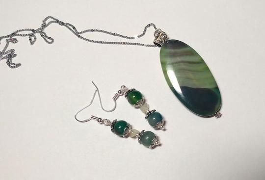 Other Green Agate stone necklace sterling silver A065