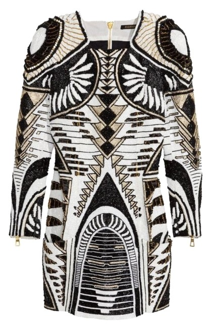 Item - Black and White Paris Beaded / Above Knee Night Out Dress Size 8 (M)
