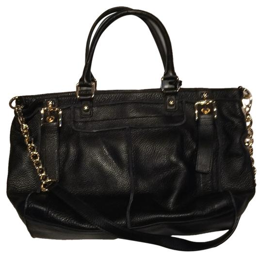 Steven by Steve Madden Gold Hardware Leather Tote in Black