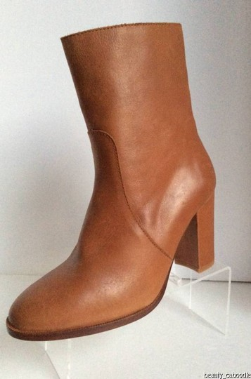 Candela Zanns Womens Omid Shaft High Heeled Ozipper Sides Osize 9.5. Oleather Sole. Omade In Spain COGNAC Boots