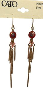 New Dangle Chain Chandelier Earrings Long Pink Gold Tone J1799