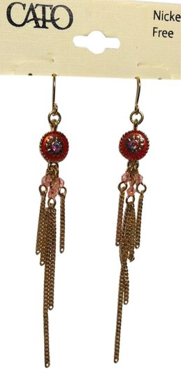 Other New Dangle Chain Chandelier Earrings Long Pink Gold Tone J1799