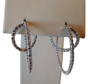 Bloomingdale's AUTHENTIC 14K WHITE GOLD DIAMOND EARRINGS WITH 70 SPARKLING DIAMONDS