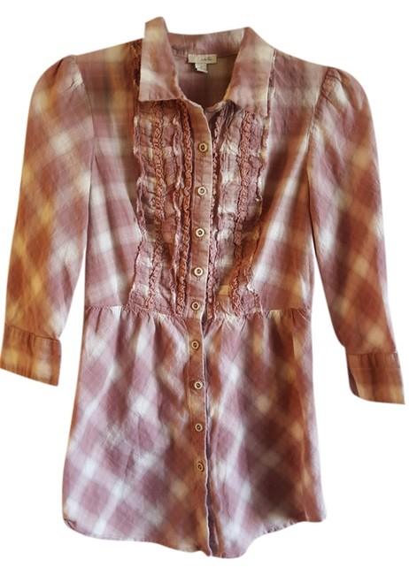 Preload https://item4.tradesy.com/images/odille-mauve-plaid-cotton-blouse-size-0-xs-10404628-0-1.jpg?width=400&height=650
