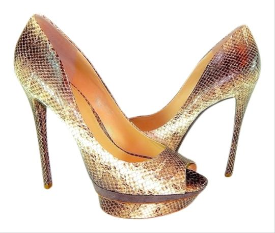 B Brian Atwood Snakeskin Multicolored Snake Print (Tan/Brown) Pumps