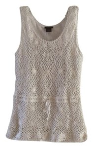 Ann Taylor Lace Knit Top White