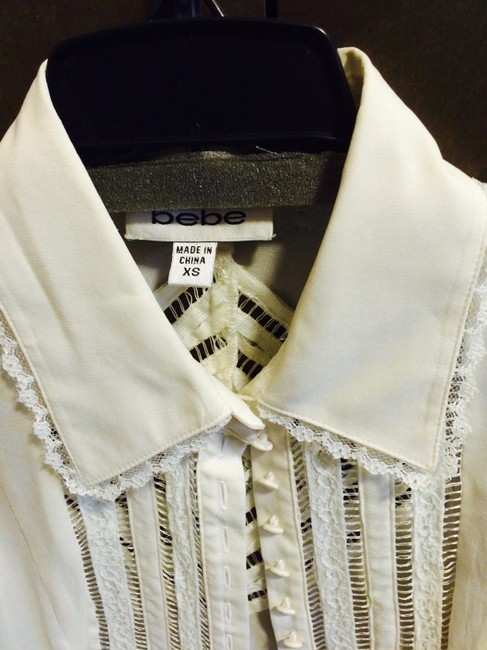 bebe Lace And Cutwork Top white