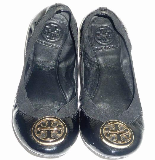 Tory Burch Logo Patent Leather Black Flats