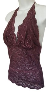 bebe Embroidered Tiered Lace Plum Halter Top