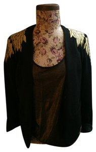 Urban Outfitters Black with metallic gold embroidery Blazer