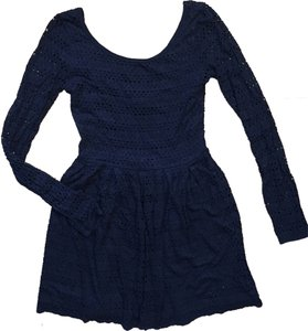 Aqua short dress Navy Cut-out Long Sleeve on Tradesy