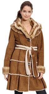 Laundry by Shelli Segal Faux Shearling Tiered Warm Waist Tie Faux Fur Shearling Coat
