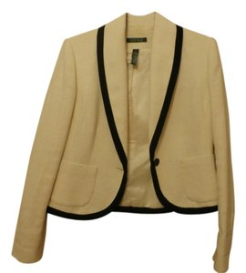Lauren by Ralph Lauren Linen Fully Lined Cream with Black piping Jacket
