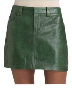 Alice + Olivia + Aliceolivia And Leather Leather Mini Skirt Green