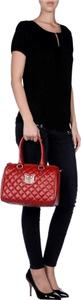 Love Moschino Quilted Chanel Speedy Tote in Red