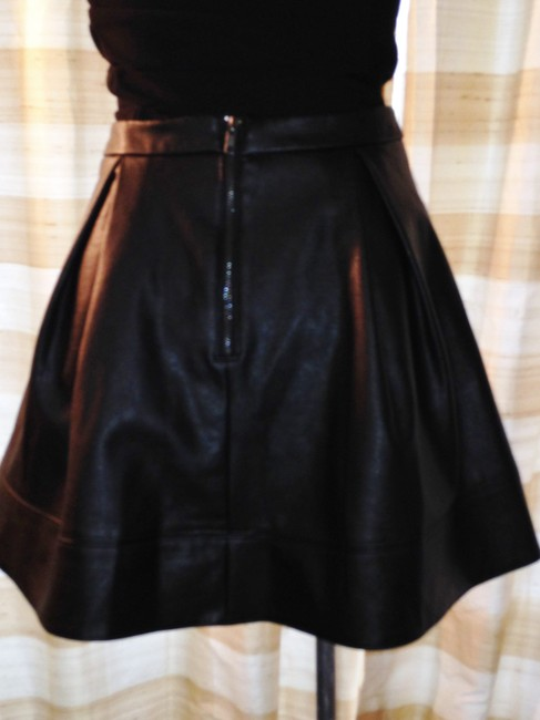 Nanette Lepore Eco Leather Vegan Designer Mini Skater Mini Skirt black