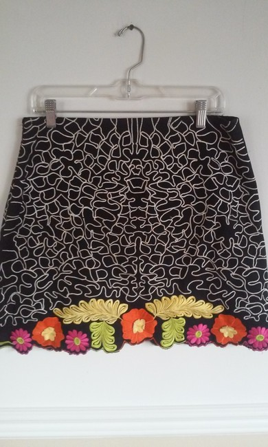 P.S.N.N. By Saman Petite Mini Skirt Black with Multi-Color Floral