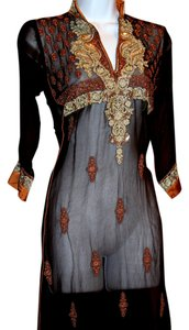 brown and gold metallic embroidery Maxi Dress by India Boutique Silk Bronze Sheer Rare Find