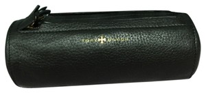 Tory Burch Tory Burch Brody Pencil Case Round Cosmetic Case Bag Pouch Roll Black Leather NEW
