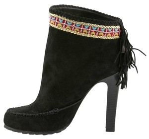 Donald J. Pliner Suede Leather Fringe Detail BLACK Boots