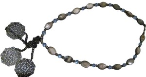 New handmade shell necklace gray light blue 20 inches J169