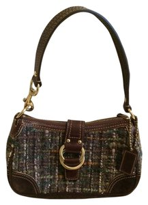 Coach Woven Wool Alpaca Blue Green Multi Brown Suede Gold Baguette