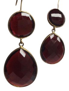 Deep red glass and gold-plated sterling silver dangle earrings