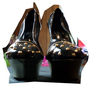 Frederick's of Hollywood Studded Black with Gold Studds Platforms