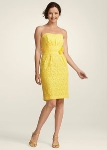 David's Bridal Yellow Lace F14166 Feminine Bridesmaid/Mob Dress Size 12 (L)